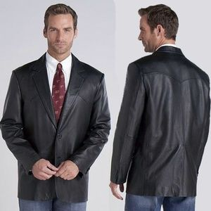 Circle S Mens Black Leather Western Jacket 42L